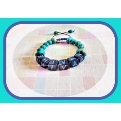 دستبند نوزادی حروف با سنگ فیروزه